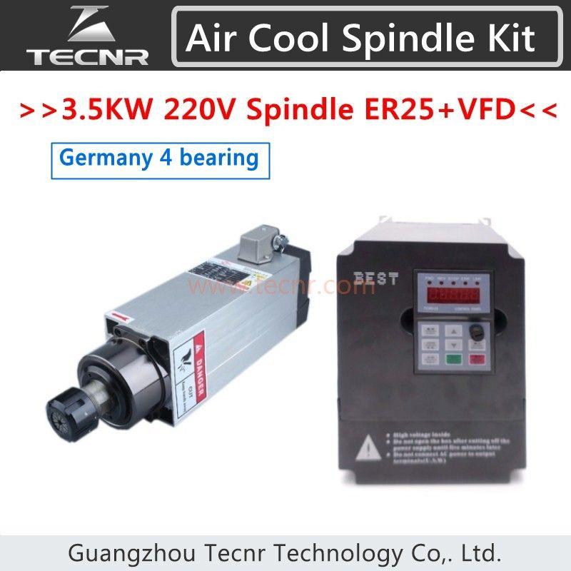 4 stücke Importiert Keramiklager 3.5KW 220 V Luft Kühlen Spindel Mit 4KW VFD Wechselrichter Für Holz CNC Router