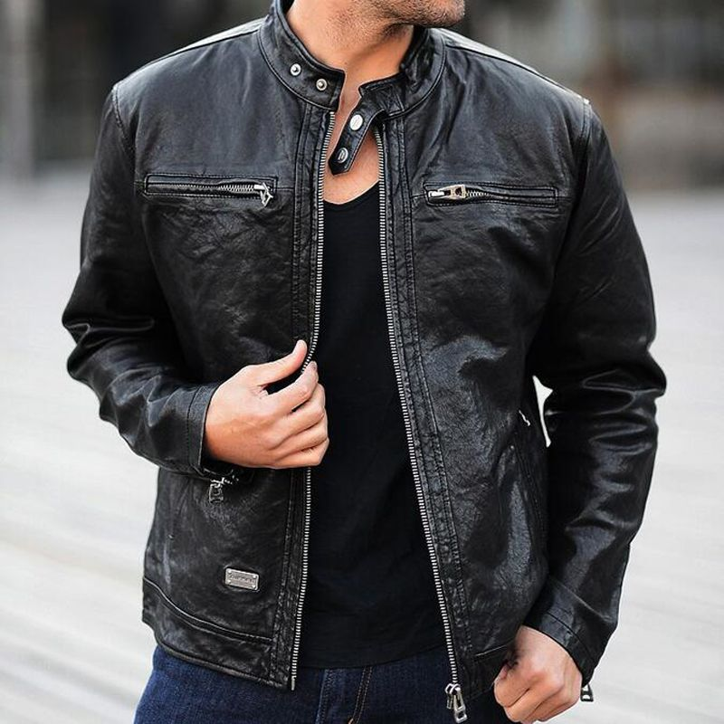 Дермы кожи Jacke Для мужчин из натуральной овчины/замша кожаная куртка модного бренда Дизайн Повседневное тонкий Байкер Мотоцикл Пальто Jaqueta