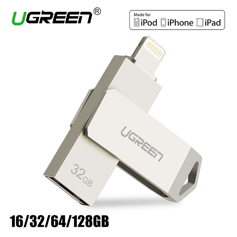Ugreen USB flash drive 32 GB 64 GB para iPhone 8 7 más Lightning a metal pen drive u disco para MFI iOS10 Memory Stick 128 GB