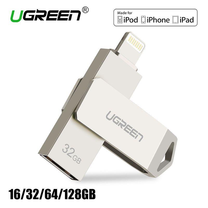 Ugreen USB Flash Drive 32 ГБ 64 ГБ Для iPhone 7 7 Plus 6 5 5S Молнии Металла Pen Drive U Диск для Мфо iOS10 memory stick 128 ГБ