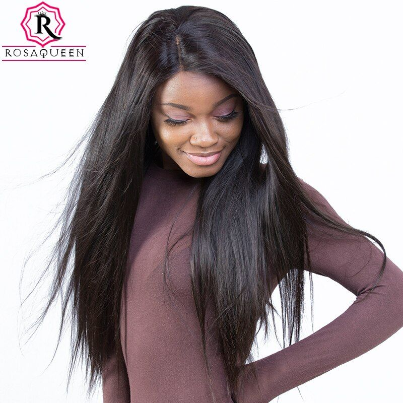Pre Plucked Full Lace Human Hair Wigs For <font><b>Women</b></font> 180% Density Brazilian Straight Lace Wig With Baby Hair Rosa Queen Remy Black