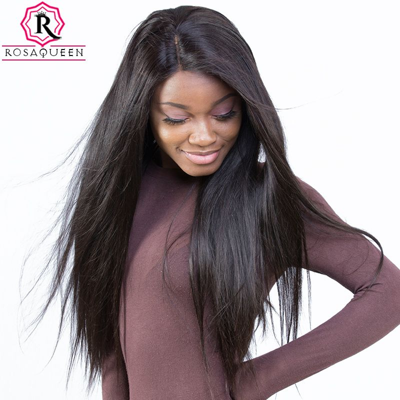 Pre Plucked Full Lace Human Hair Wigs For Women 180% Density Brazilian Straight Lace Wig With Baby Hair Rosa Queen Remy Black