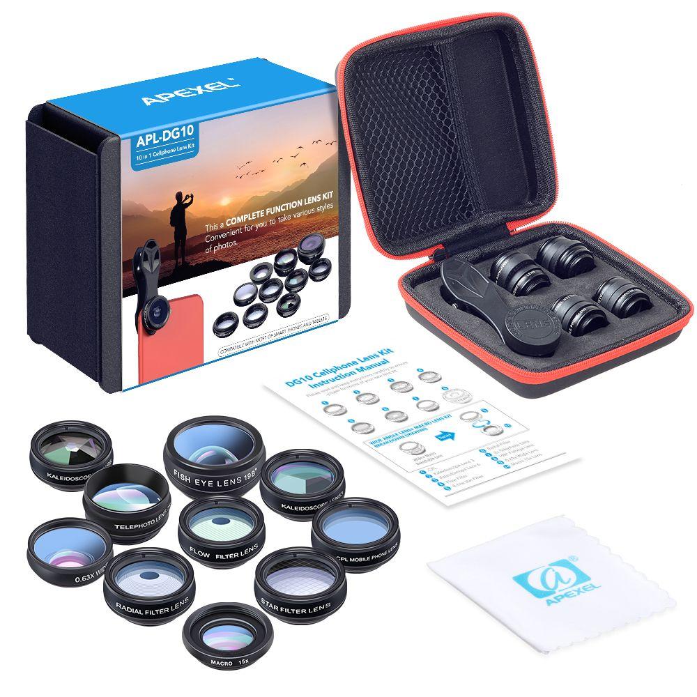 APEXEL 10 in 1 Phone camera Lens Kit Fisheye Wide Angle macro Lens CPL Filter Kaleidoscope and 2X telescope Lens for smartphone