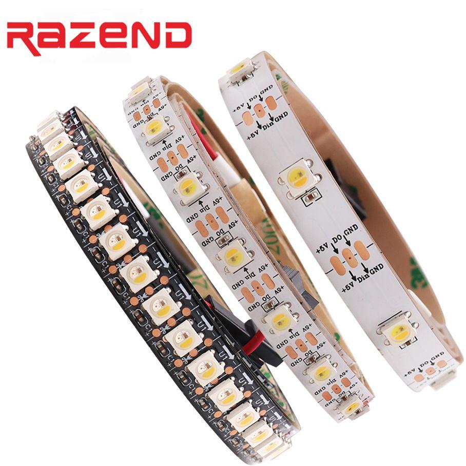 Meilleur Prix 1 m 2 m 5 m Adressable SK6812 RGBW led bande Neutre blanc L'ACADÉMIE Étanche 30/60/96/144 led/pixles/m 5 V similaire WS2812B