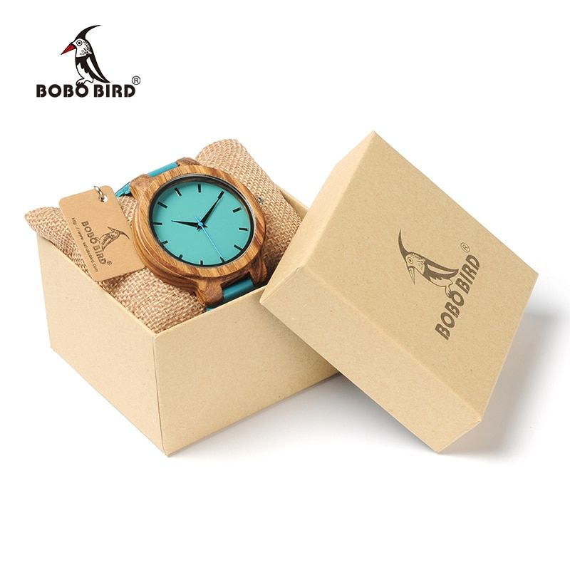 BOBO BIRD Lovers Watch Men Turquoise Blue Leather Watches Women Japanese miytor 2035 Quartz Writwratch relogio masculino C-C28