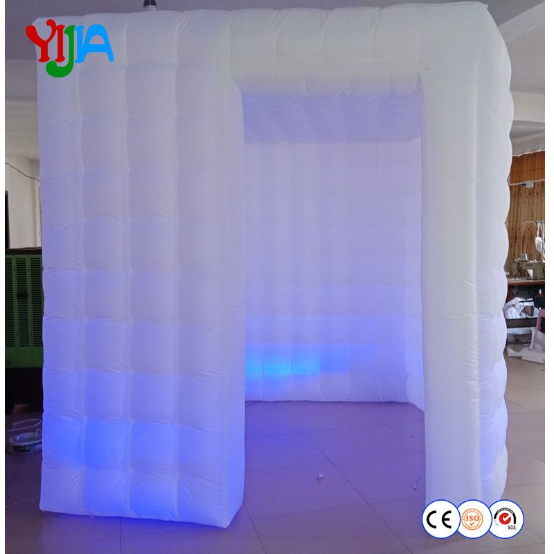 Hot sale LED strips portable photo booth white inflatable photo booth cabin for your photobooth wedding party outside or inside