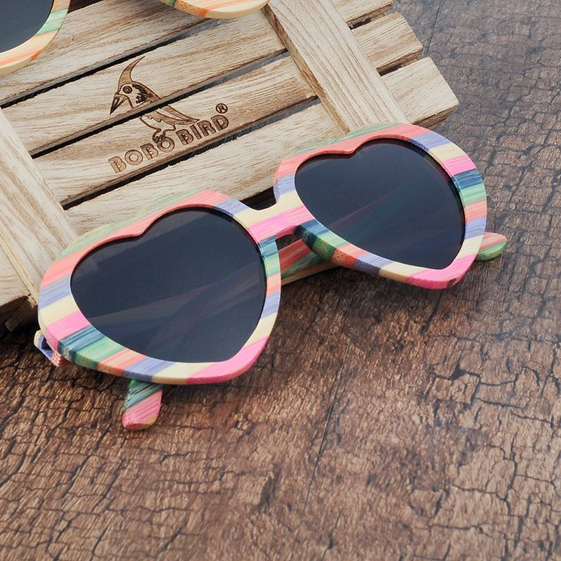 BOBO BIRD Brand Unique Design Heart-shaped Wood Sunglasses Women Fashion Sun glasses Ladies Memento Gift Dropshipping C-BG019