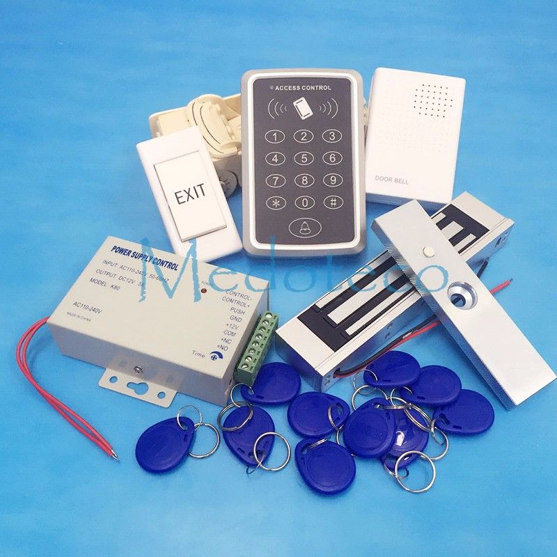 Le meilleur système complet de contrôle d'accès de porte de Rfid 125Khz Kit de système de contrôle d'accès de carte de Rfid + serrure magnétique électrique aucun serrure de grève de Nc