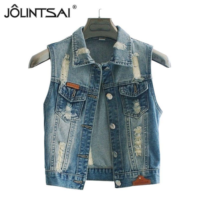 Plus Size 3XL Women Denim Vest 2016 Summer New Waistcoat Sleeveless Ripped Button Jacket Slim Coat Cardigan Jeans Vest Colete