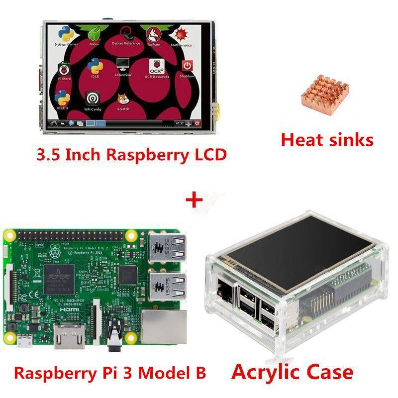 Raspberry Pi 3 modèle B Board + 3.5 TFT Raspberry Pi3 écran tactile LCD + boîtier acrylique + dissipateurs de chaleur pour Raspberry Pi 3 Kit
