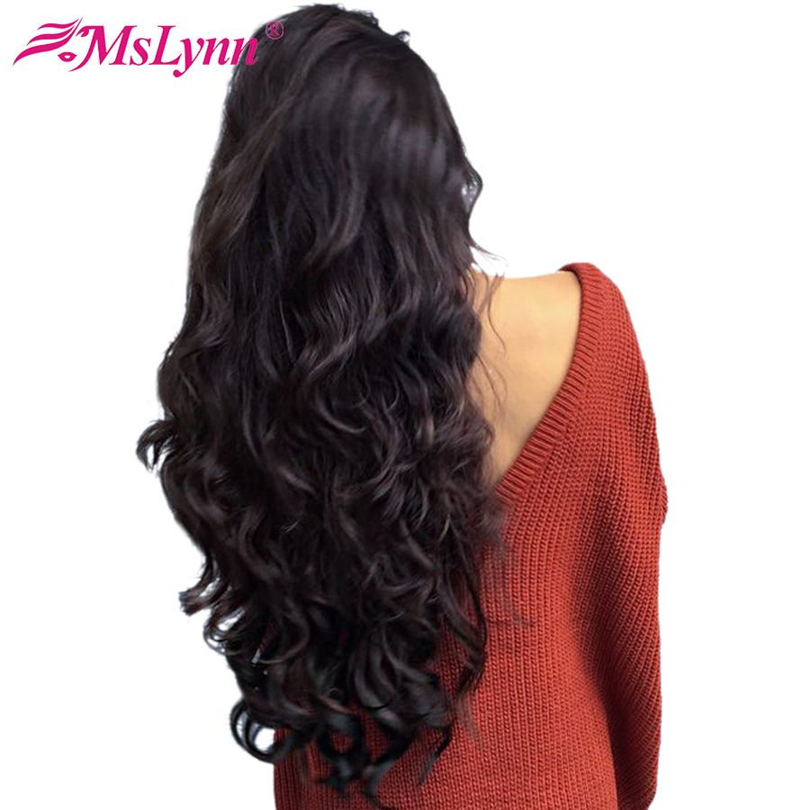 360 Lace Frontal Wig Pre Plucked With Baby Hair Human Hair Wigs For Women Mslynn Hair Peruvian Body Wave Hairline Non Remy Hair