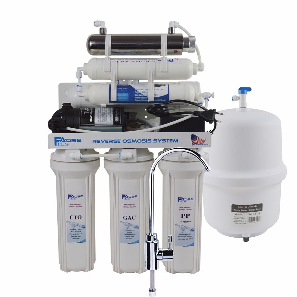Undersink Reverse Osmosis Drinking Water Filter System with UV Sterlizer and Alkaline Filter/after filter ph value of 8.0-9.50