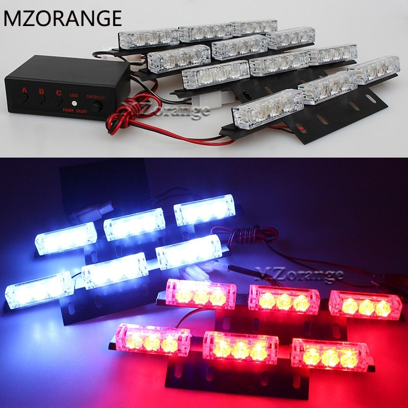 2 X 9 4 X 9 6X 9 Emergency Car Strobe Lights LED Yellow Automotive Explosive Car Front Grille Deck Strobe Flashing Light