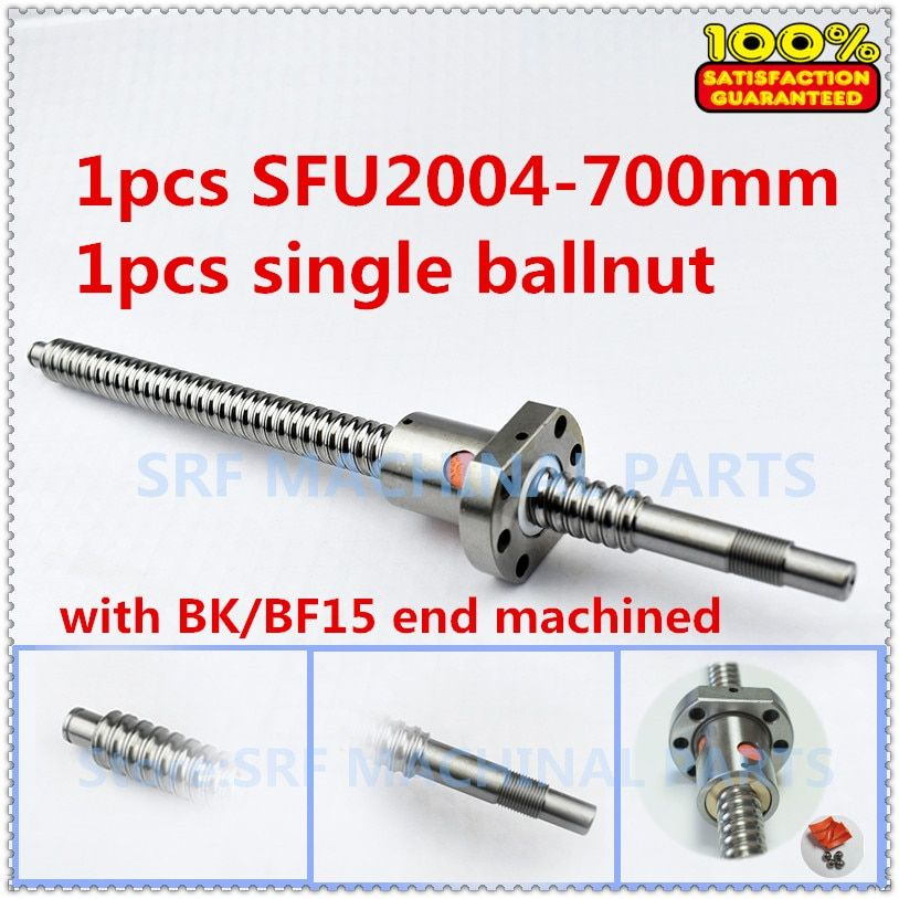 20mm 1 stücke Rolled Kugelumlaufspindel SFU2004 kugelgewinde L = 700mm + 1 stücke Flansch Einzel Ballnut mit BK/BF15 ende bearbeitet