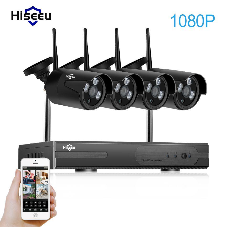 1080P 4CH Wireless NVR CCTV System wifi 2.0MP IR Outdoor Bullet P2P IP Camera Waterproof Security Video Surveillance Kit hiseeu
