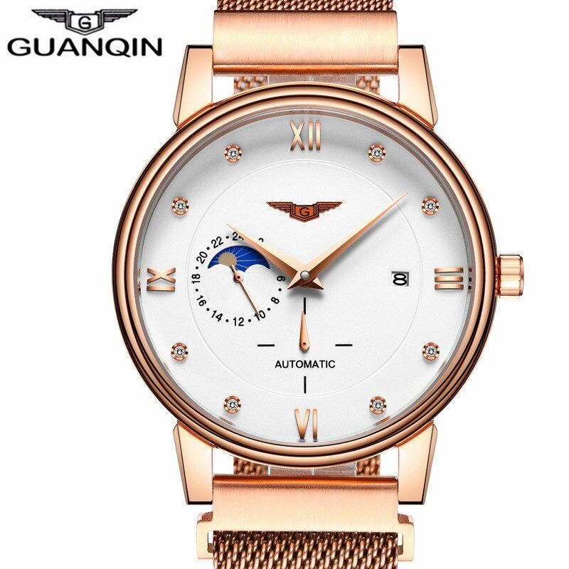 GUANQIN Watch Luxury Original Brand Business Men Automatic Mechanical Watches Mens Fashion Gold Stainless Steel Strap Wristwatch