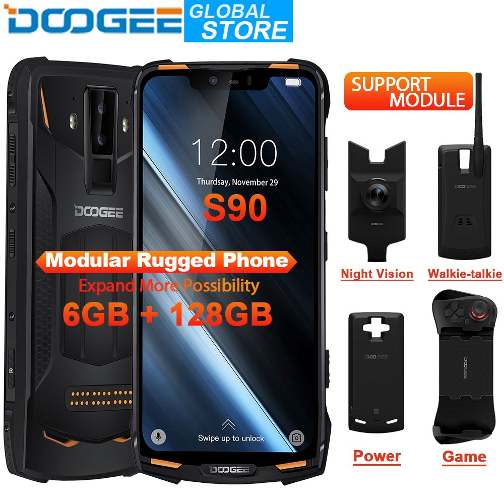 DOOGEE S90 Modulare Telefon IP68 Handy 6,18 zoll FHD Display 5050mAh Helio P60 Octa Core 6GB 128GB Android 8.1 16,0 M Kamera