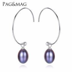 PAG & MAG Новая мода большая половина круг серьги 925 стерлингового серебра Висячие серьги для женщин тонкий пресноводный жемчуг проложили банк...