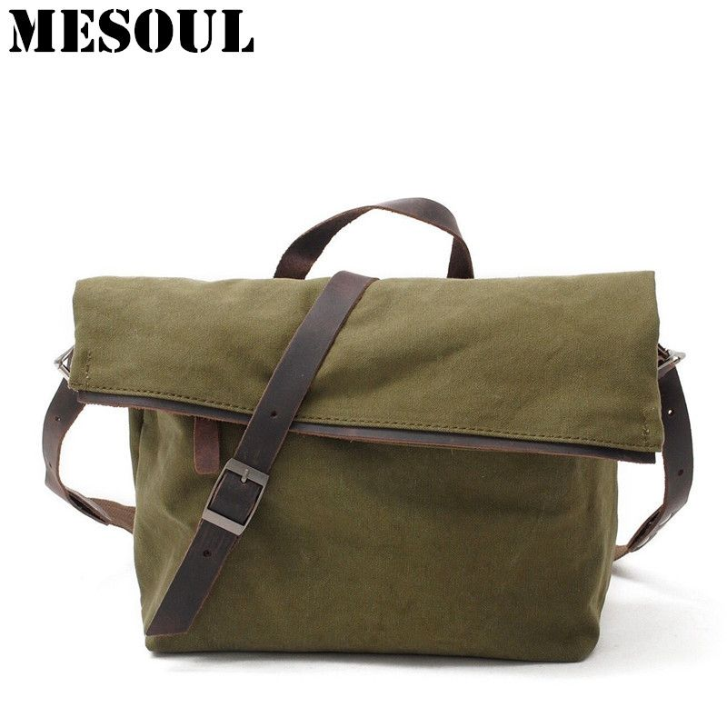 Vintage Crossbody Bag Military Canvas Shoulder Bag New Arrivals Casual Tote Men Travel Bags Dark Gray School Bags for youth Boy