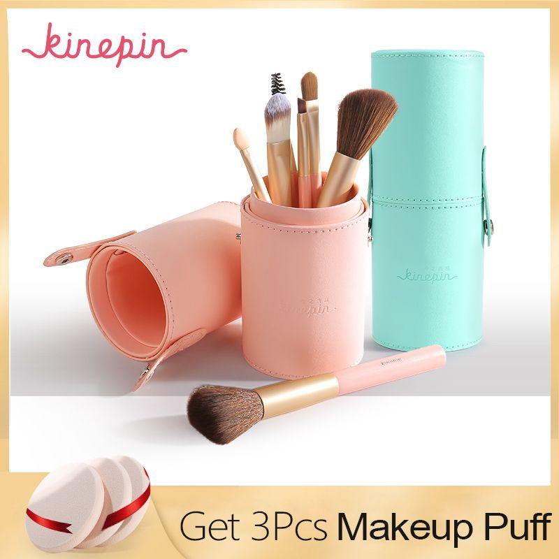 KINEPIN Marque Compact 7 pcs Maquillage Pinceaux Kit Voyage Essentiel Portable PU Studio Brosse Titulaire Tube En Cuir Tasse Contenant