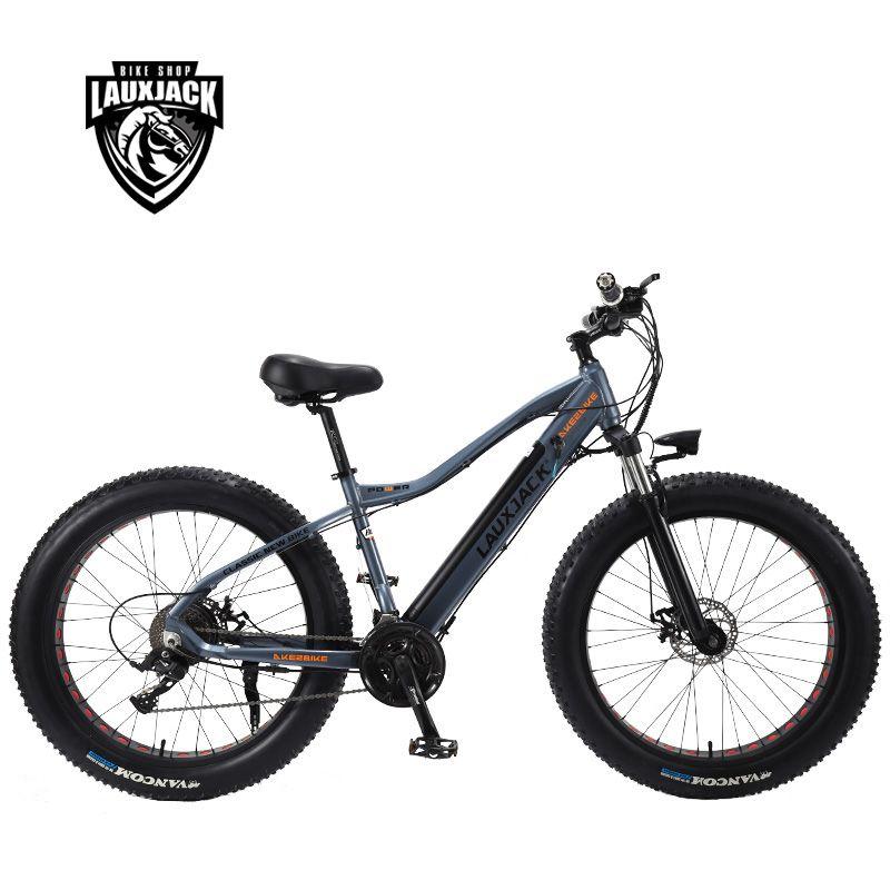 LAUXJACK Fatbike Elektrische Fahrrad Alluminium Rahmen 27 Geschwindigkeit Disc Bremse 26