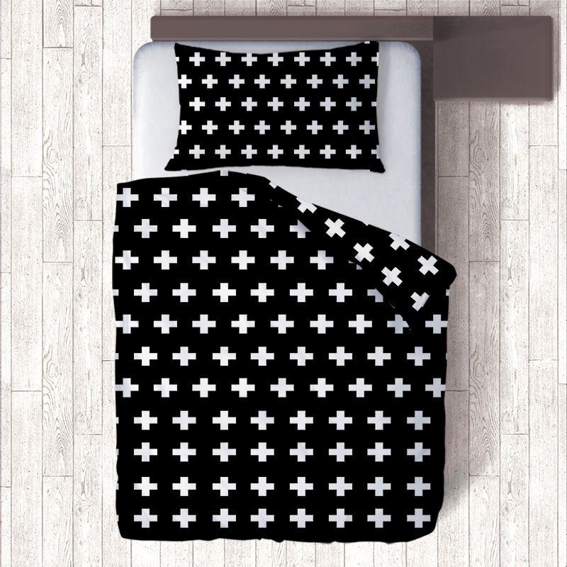 2 Face Impression Blanc/Noir Croix Ensembles de Literie Literie, Simple Géométrique Taie d'oreiller Unique Couette Housse de Couette