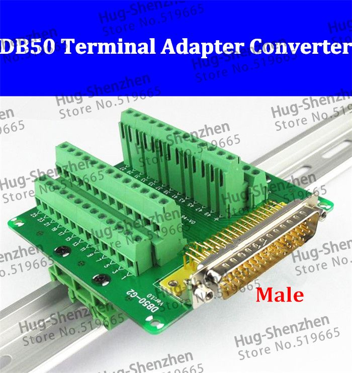 DB50 DR50 male 50 pin port din rail module Terminal block adapter converter PCB board Breakout 3 row with shell