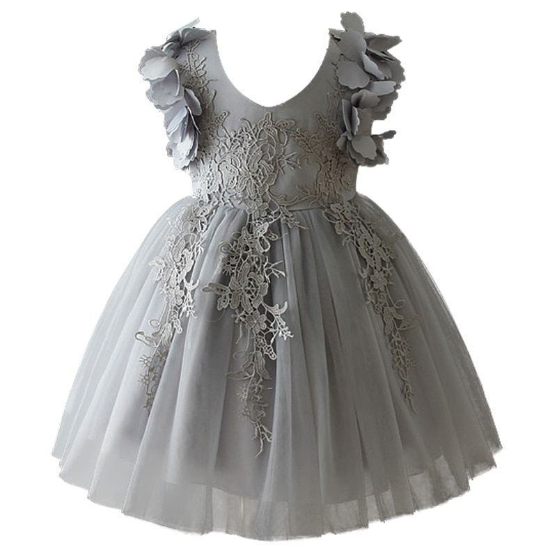 Lace Infant Baby Girl Birthday Party Dresses Formal Wedding Flower Dressbaptism Easter Gown Toddler Princess Petals Dress