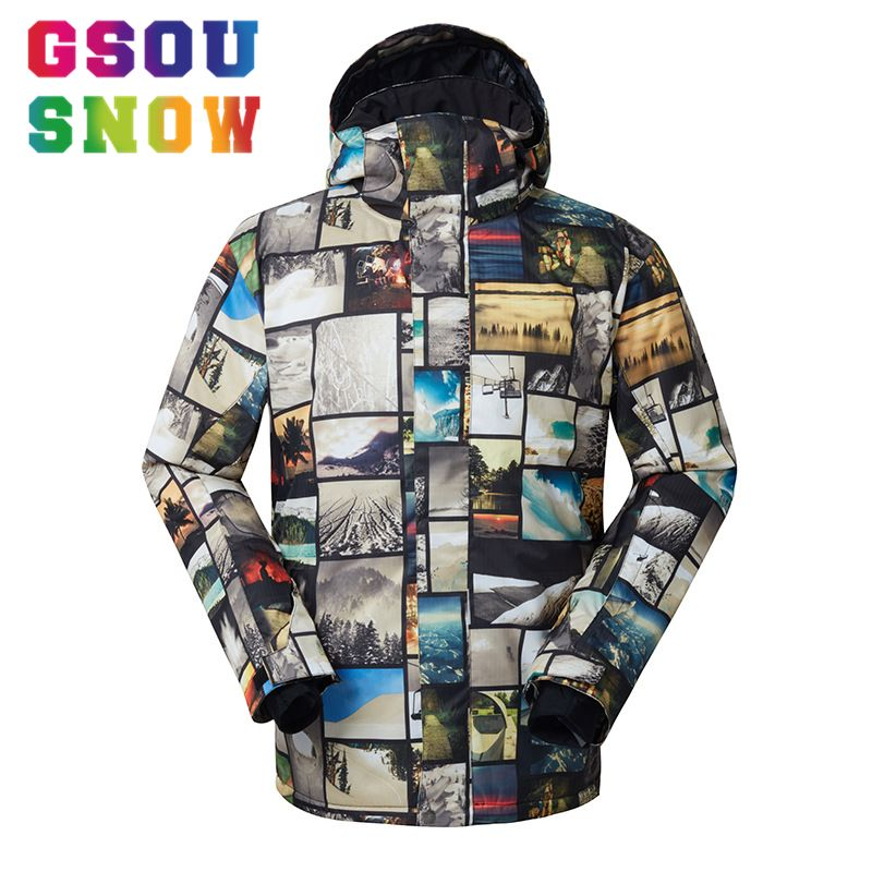 GSOU SNOW Brand Ski Jacket Men Snowboard Jacket Winter Skiing Snowboarding Snow Coat Waterproof Windproof Outdoor Sports Clothes