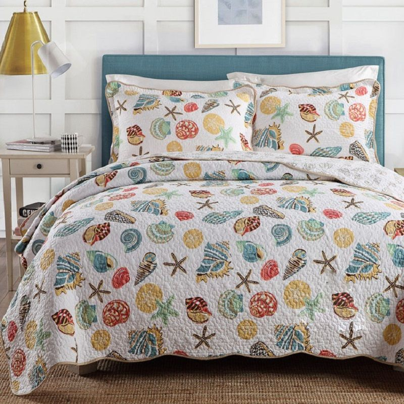 CHAUSUB Ocean style Quality Quilt Set 3PC Cotton Quilts Quilted Bedspread Cover Bed Sheets Pillowcase Blanket Coverlet King Size