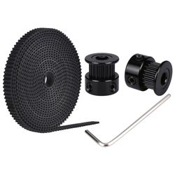 GT2 2PCS 20 teeth bore 5/8 mm Pulley With 2M PU With Steel GT2-6mm Open timing Belt  2GT Timing Belt 6mm Width For 3D Printer