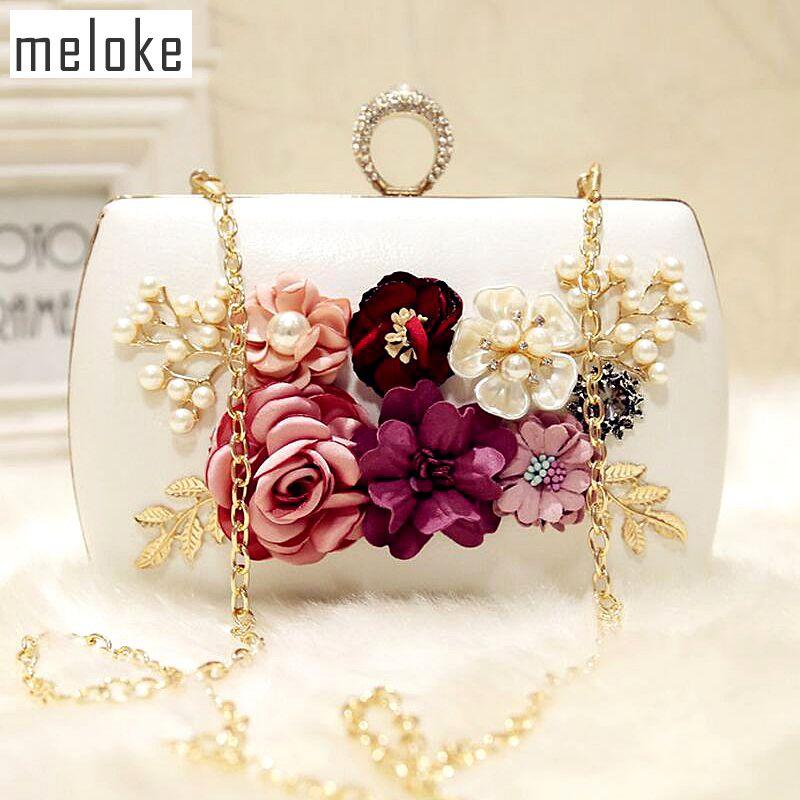 Meloke 2019 haute qualité de luxe soirée fleurs à la main sacs marque dîner bourse d'embrayage avec la chaîne fleur banquet sacs MN258