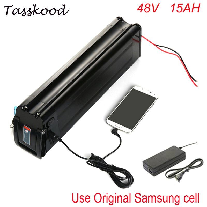 Silber fisch Samsung ebike lithium-batterie 48 v 15ah elektrische fahrrad batterie mit usb-anschluss passen 48 v bafang 1000 watt 750 watt bbs02 motor