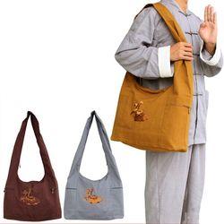 3 Warna Biksu Buddha lapisan Ganda Katun Halus Kanvas Tas Sling Crossbody Tas Tas Multifungsi Wushu Buddha Lohan