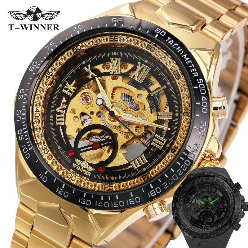 2017 New Fashion Men <font><b>Mechanical</b></font> Watch Winner Golden Top Brand Luxury Steel Automatic Classic Skeleton Wristwatch BEST Gift