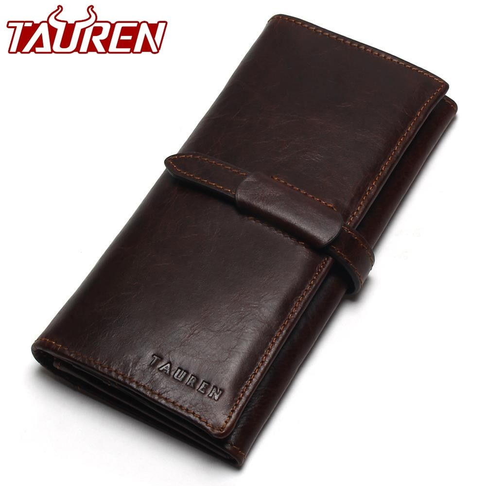 New Luxury Brand 100% Top Genuine Cowhide <font><b>Leather</b></font> High Quality Men Long Wallet Coin Purse Vintage Designer Male Carteira Wallets