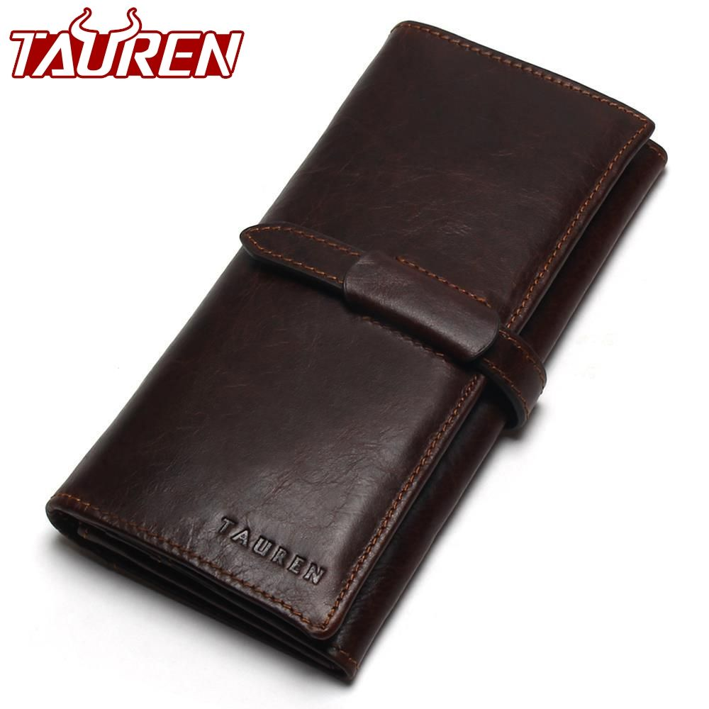 New Luxury <font><b>Brand</b></font> 100% Top Genuine Cowhide Leather High Quality Men Long Wallet Coin Purse Vintage Designer Male Carteira Wallets