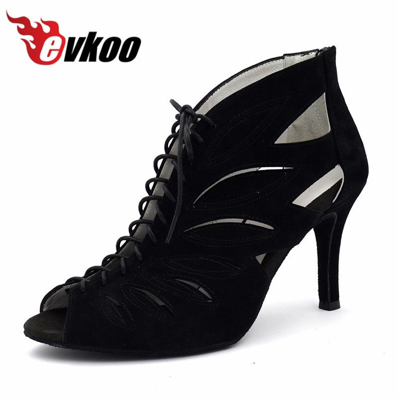 Evkoodance Zapatos De Baile Size US 4-9.5 Black Nubuck Heel Height 8.5 cm Comfortable Latin Dance Shoes For Women Evkoo-470
