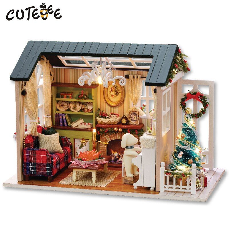 CUTEBEE Doll <font><b>House</b></font> Miniature DIY Dollhouse With Furnitures Wooden <font><b>House</b></font> Toys For Children Holiday Times Z009