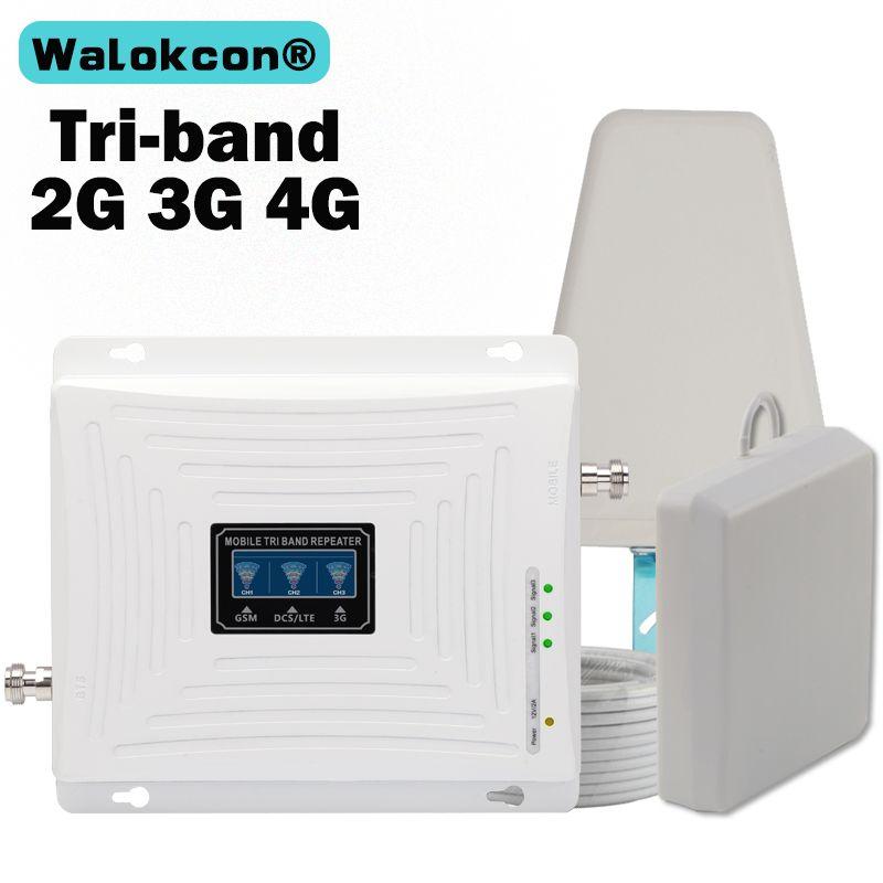 GSM 900 1800 WCDMA 2100 amplificateur Tri-bande 2G 3G 4G LTE 1800 70dB amplificateur de Signal cellulaire Mobile répéteur de téléphone portable pour la russie