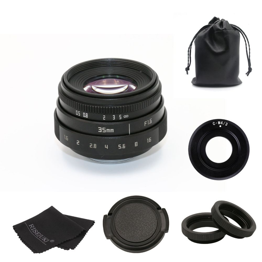 new arrive FUJIAN 35mm f1.6 C mount CCTV camera Lens II +Adapter ring for M4/3 / MFT Mount Camera & Adapter free shipping