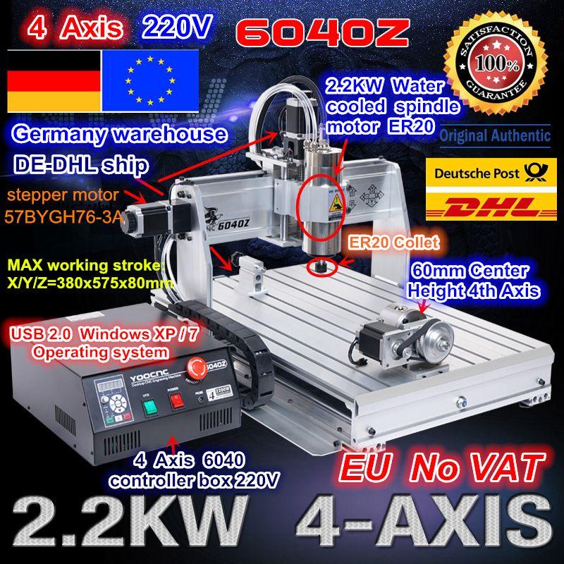 EU freies schiff/freies MEHRWERTSTEUER 4 Achse 6040 USB port 2.2KW 2200 W USB Mach3 CNC Router Engraver Gravur fräsen Citting Maschine 220VAC