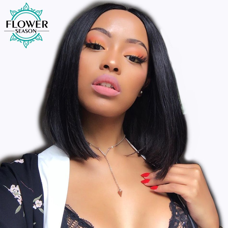 13x6 Lace Front Human Hair Wigs With Baby Hair 130% Short Cut Bob Wig Brazilian Remy Hair Natural Black For Women FlowerSeason