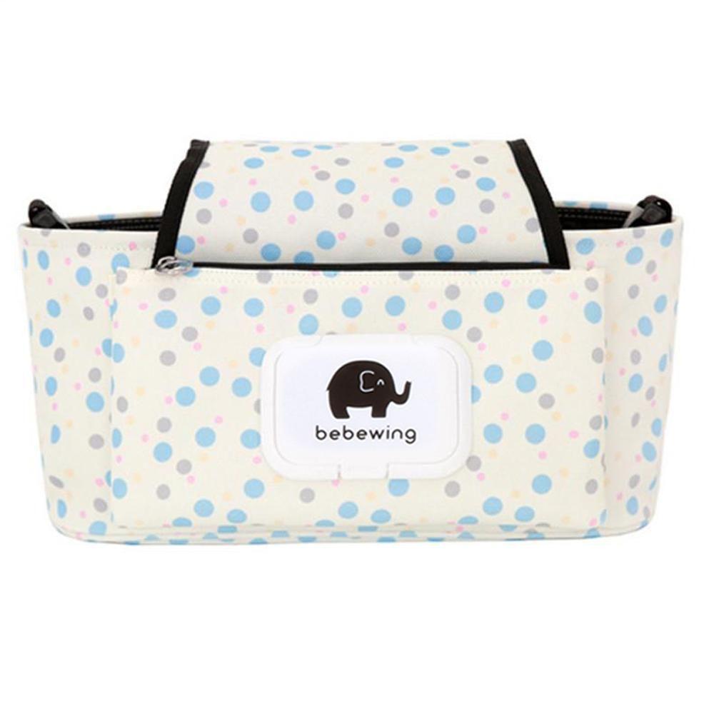 Print Strollers Baby Trolley Bag with Detachable Handbag Multifunctional Baby Stroller <font><b>Organizer</b></font> Pram Buggy Cart Hanging Bag A5