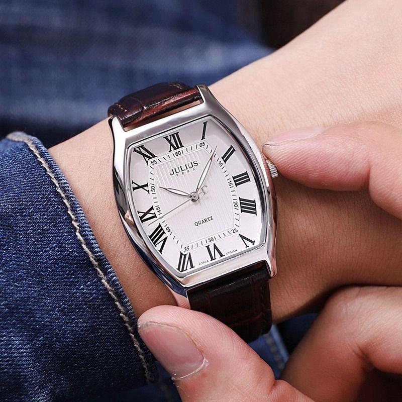 Hommes mode décontracté affaires sport en cuir véritable montre mâle rétro analogique Tonneau montres célèbre Top Julius marque étanche