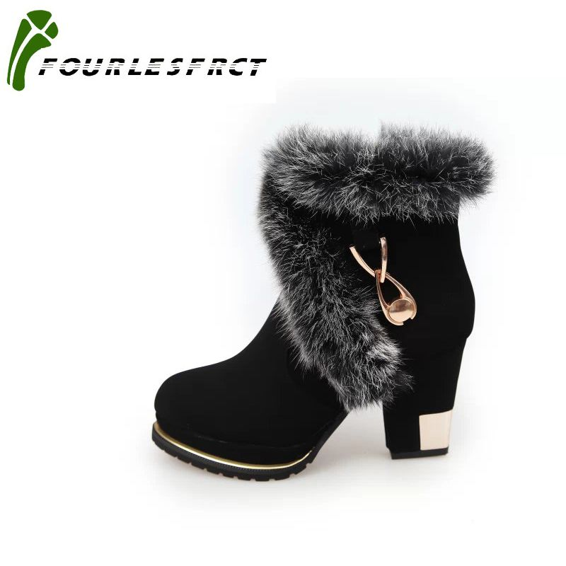 2017 Fashion Women Boots High Heels Ankle Boots Platform Shoes Brand Women Shoes Black Autumn Winter Botas Mujer Size 35-39