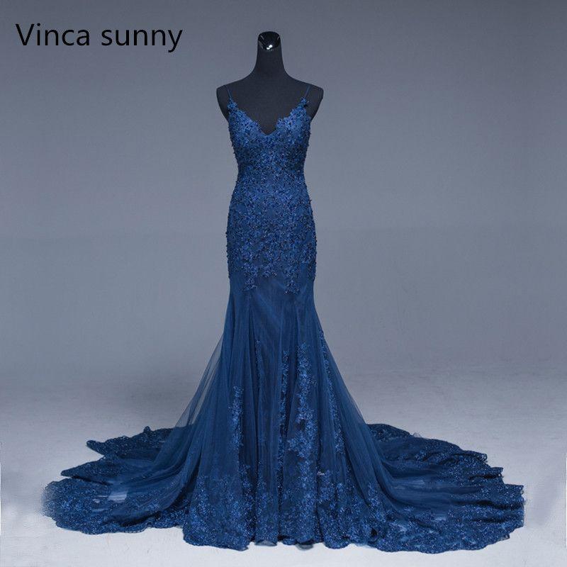Vinca Sunny 2018 sexy azul marino sirena vestido de fiesta con cuentas Encaje apliques vestidos de noche largo abendkleider 2018 vestido formal