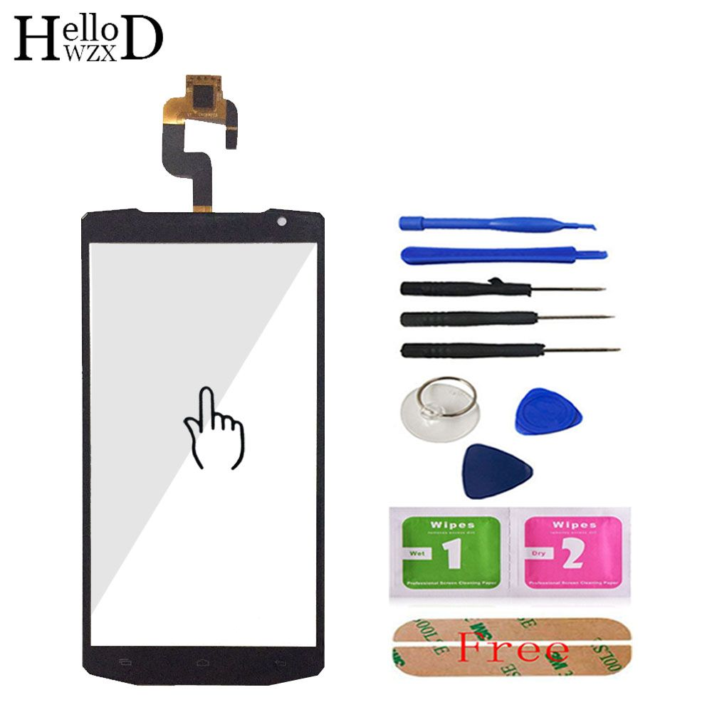 HelloWZXD 5.5'' For Oukitel K10000 Touch Screen Glass Front Glass Digitizer Panel Lens Sensor Flex Cable Tools + Adhesive Gift