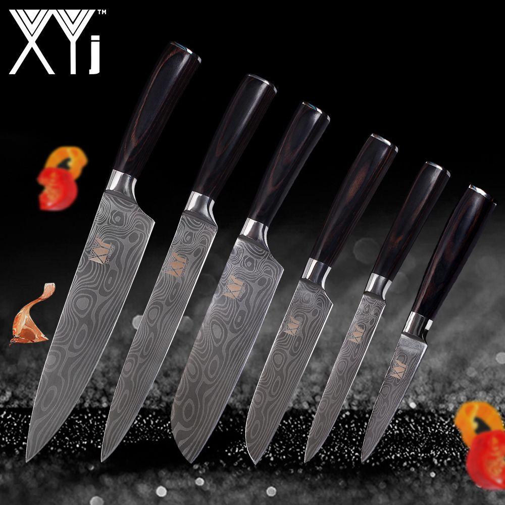 XYj Kitchen Cooking Stainless Steel Knife Set Paring Utility 2*Santoku Slicing Chef Damascus Veins Lightweight Effort Handle