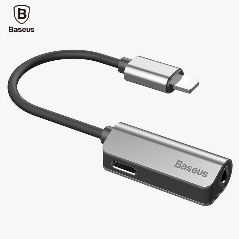 Baseus Audio Cable for iPhone X 8 8P 7 Earphone Cable Splitter for lightning to 3.5mm Aux jack Headphone Music <font><b>Adapter</b></font> for iOS